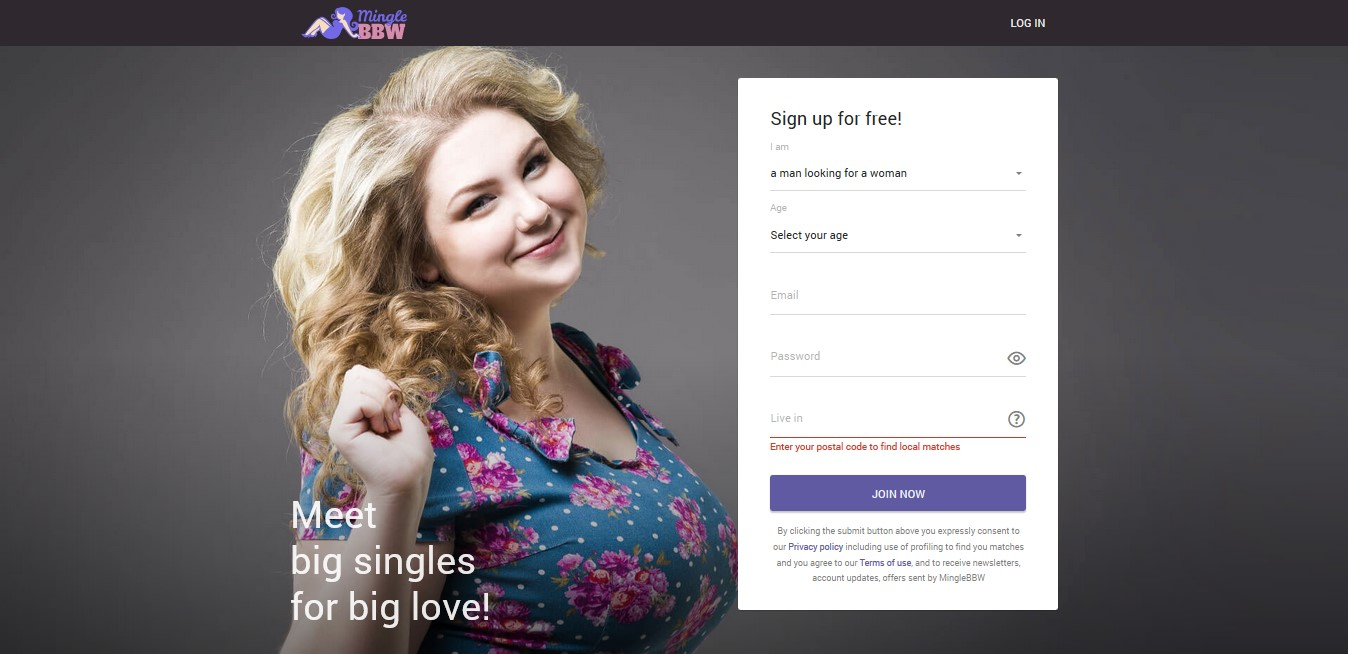 MingleBBW sign up